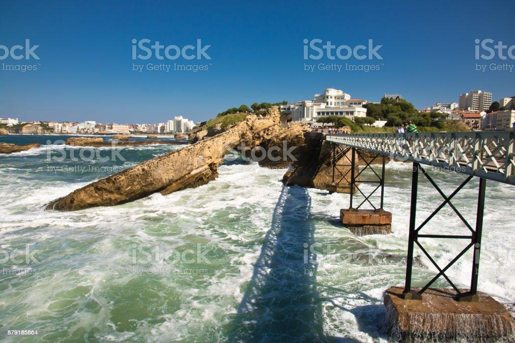 picturesque colorful atlantic coast in biarritz taken from bridge...