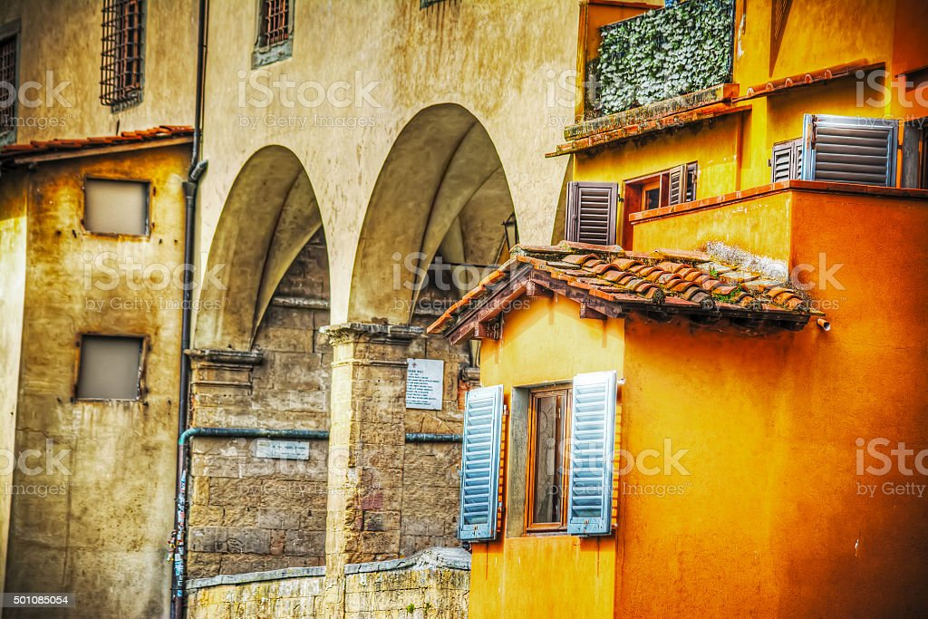 picturesque corner in Ponte Vecchio bank in Florence stock photo