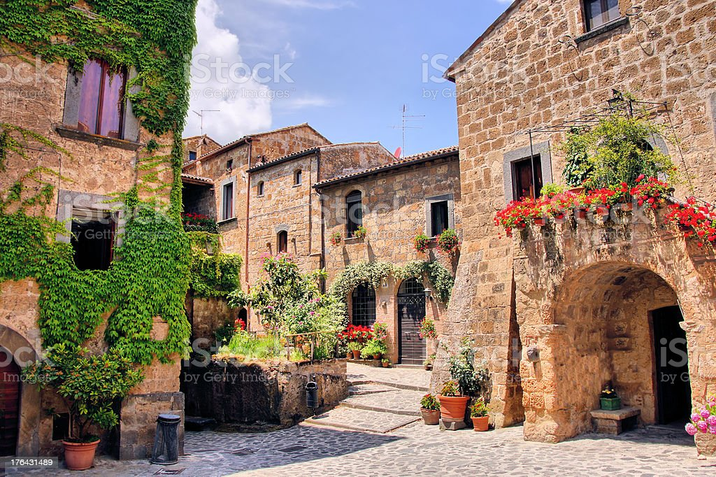 Picturesque corner of a quaint Tuscan hill town, Italy stock photo