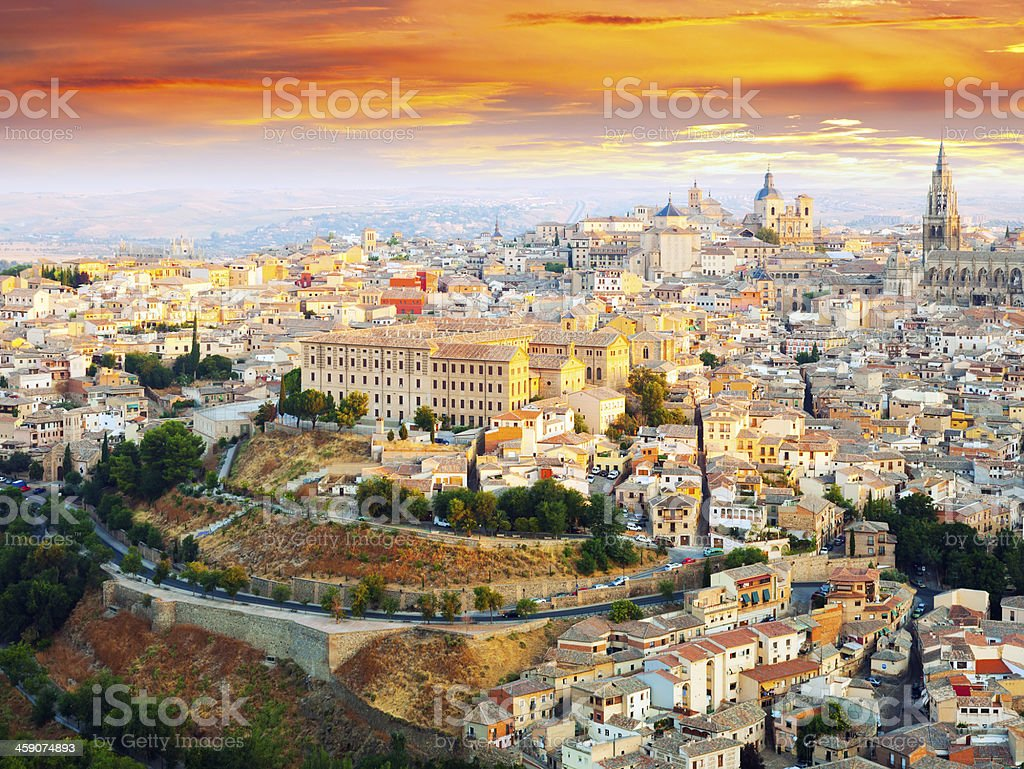 Picturesque dawn view of Toledo stock photo