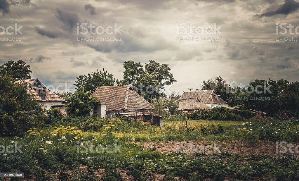 Picturesque European village against the background of a stormy sky stock photo