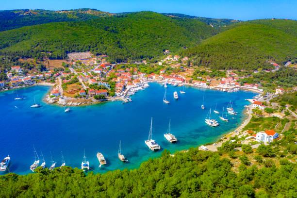 Picturesque Fiskardo village in Kefalonia island, Greece stock photo