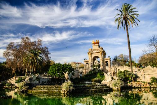 Picturesque fountain in Parc de la Ciutadella, Barcelona