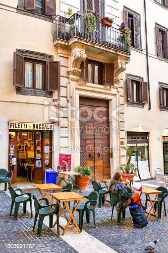 Rome, Italy, February 15 -- A picturesque Italian fried codfish restaurant along Via dei Giubbonari, near the famous Campo de Fiori square, in the historic center of Rome. Image in High Definition Format.