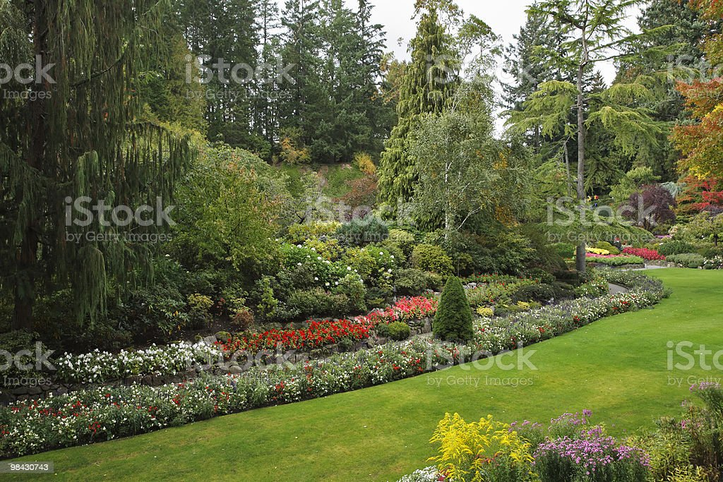 Picturesque  glade in well-known Butchard-garden royalty-free stock photo