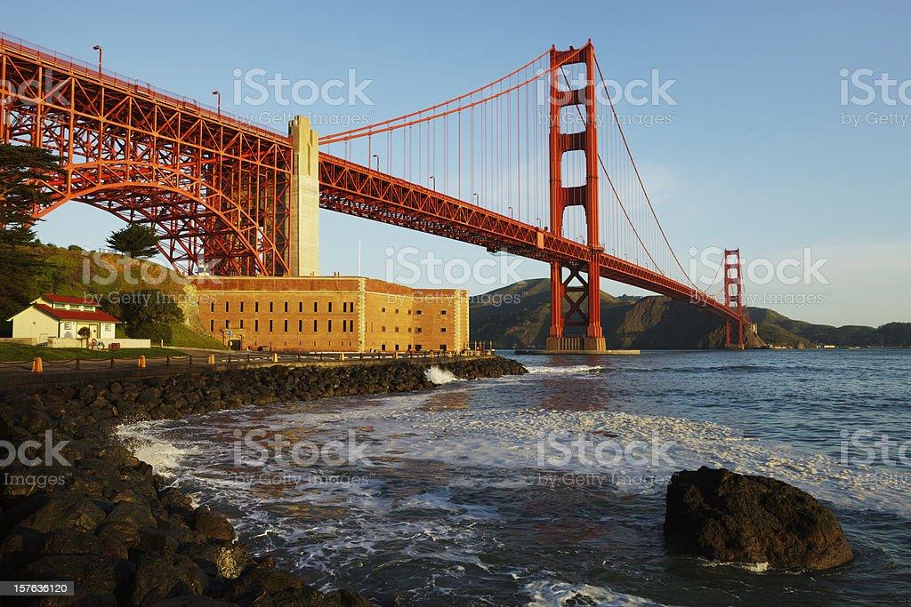 Picturesque Golden Gate Bridge at sunrise stock photo