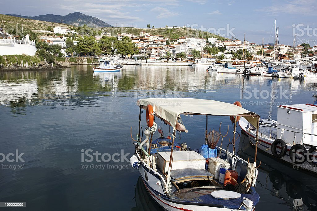 Picturesque harbour in Thessalonika, Greece stock photo