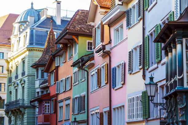 Picturesque houses of a city with colorful shutters, Zurich, Switzerland Picturesque houses of a medieval city with colorful shutters, Zurich, Switzerland zurich stock pictures, royalty-free photos & images