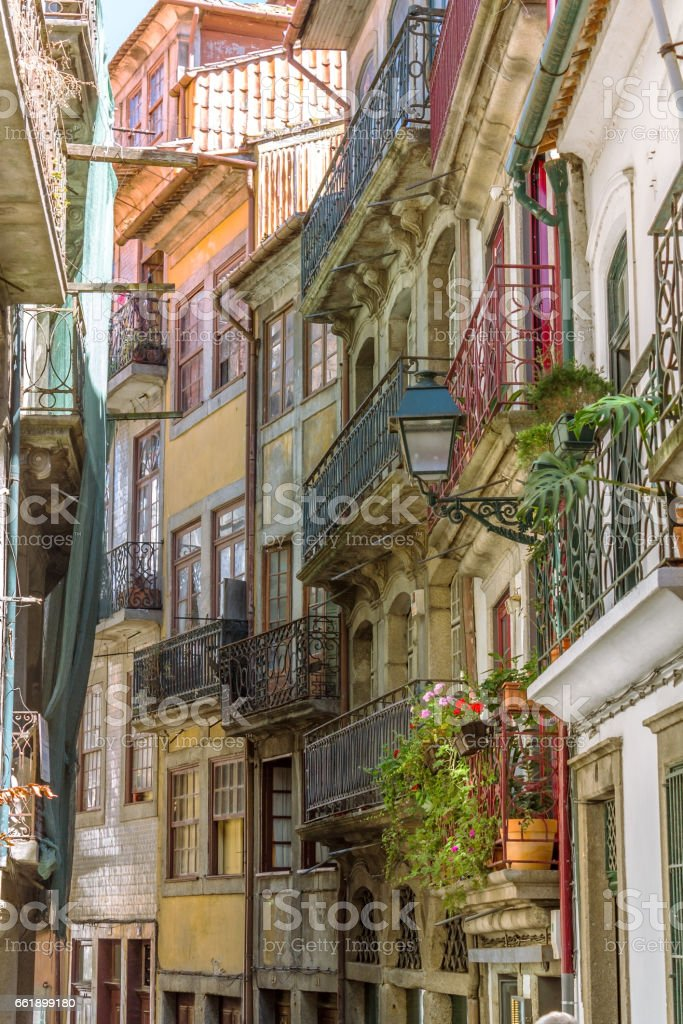 Picturesque houses with balconies in Porto stock photo