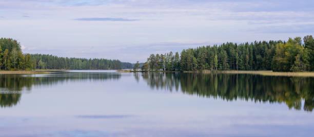 Malerischer See mit Wald am Ufer – Foto