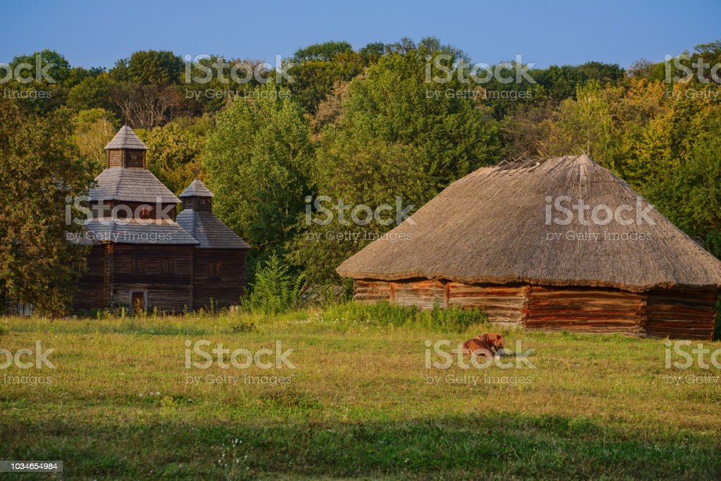 Picturesque landscape of ethnic Ukrainian village stock photo