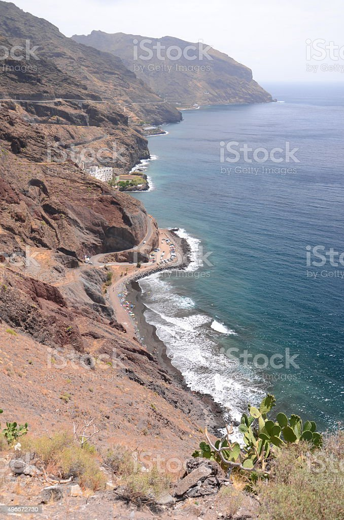 Picturesque landscape of rocky coast on north east of Tenerife stock photo