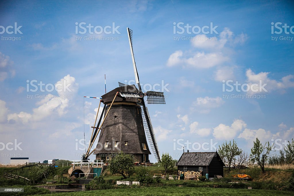 Picturesque landscape with windmills stock photo