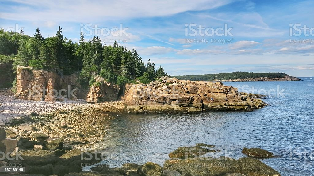 Picturesque Maine Acadia National Park Rocky Ocean Shore Water, Maine stock photo