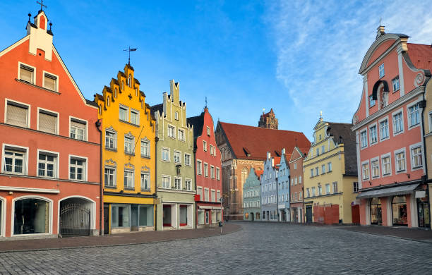 Picturesque medieval gothic houses in old bavarian town by Munich, Germany stock photo
