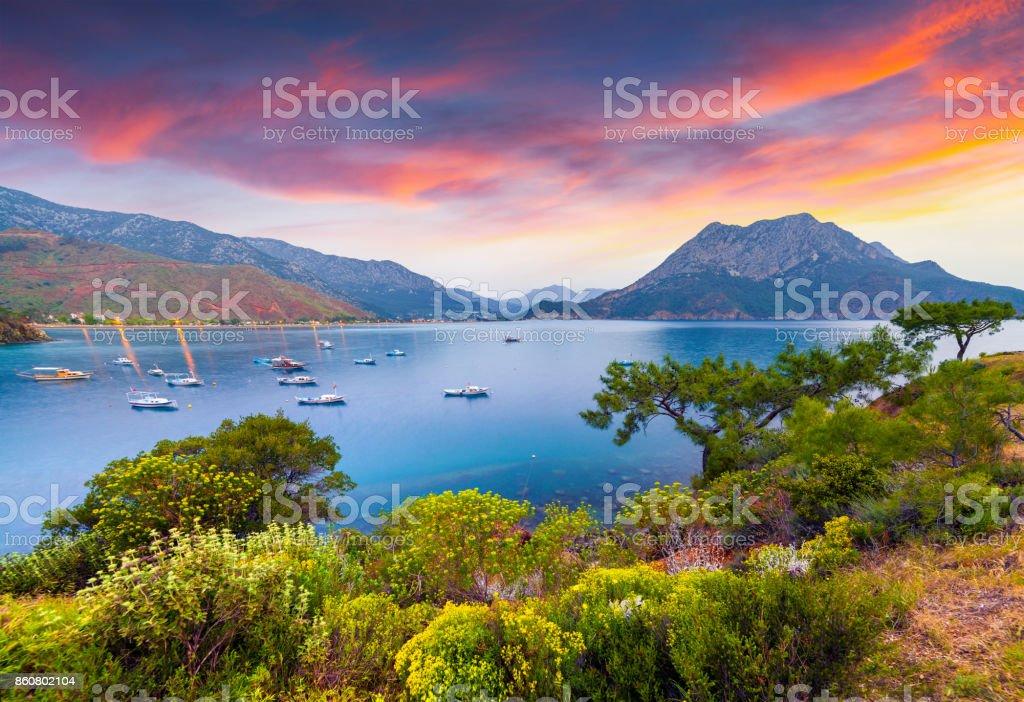 Picturesque Mediterranean seascape in Turkey. stock photo
