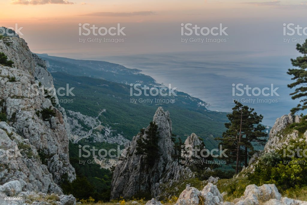 picturesque mountain landscape early in the morning stock photo