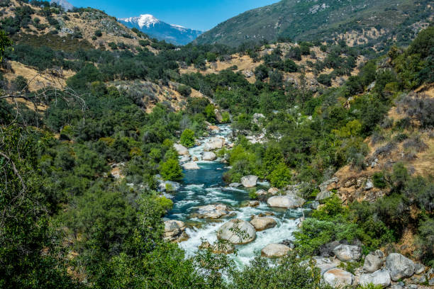 Picturesque mountain river valley in the Kings Canyon Preserve, California stock photo
