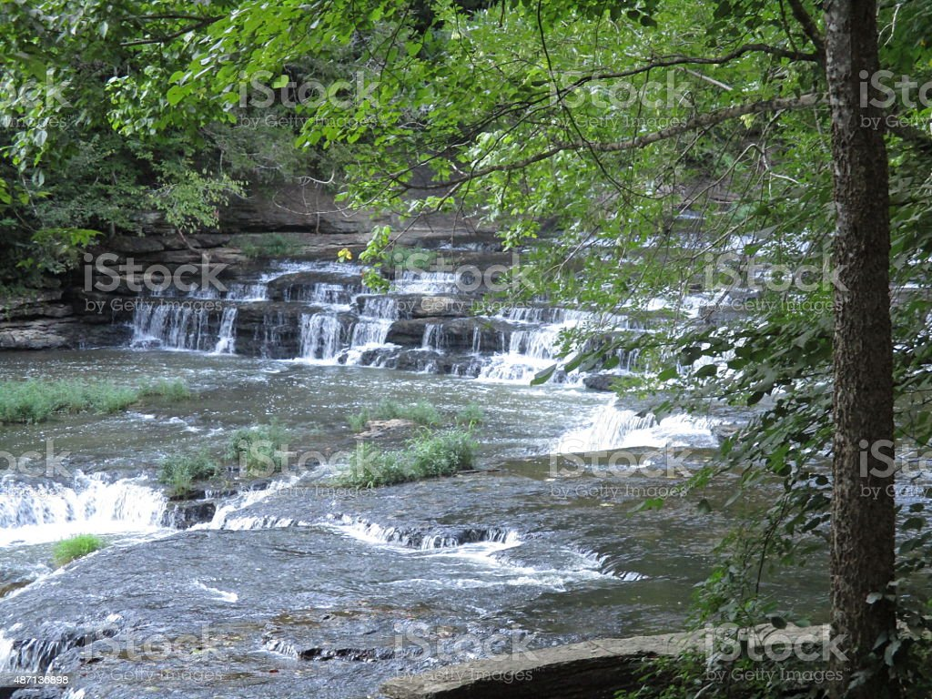 Picturesque Multilevel Waterfall in a Park stock photo