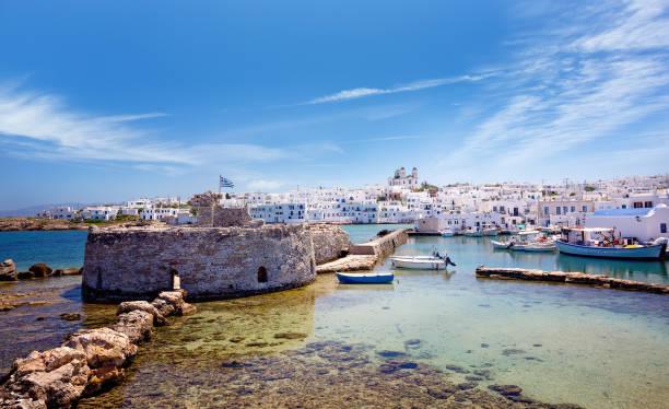Picturesque Naousa village in Paros Greece stock photo