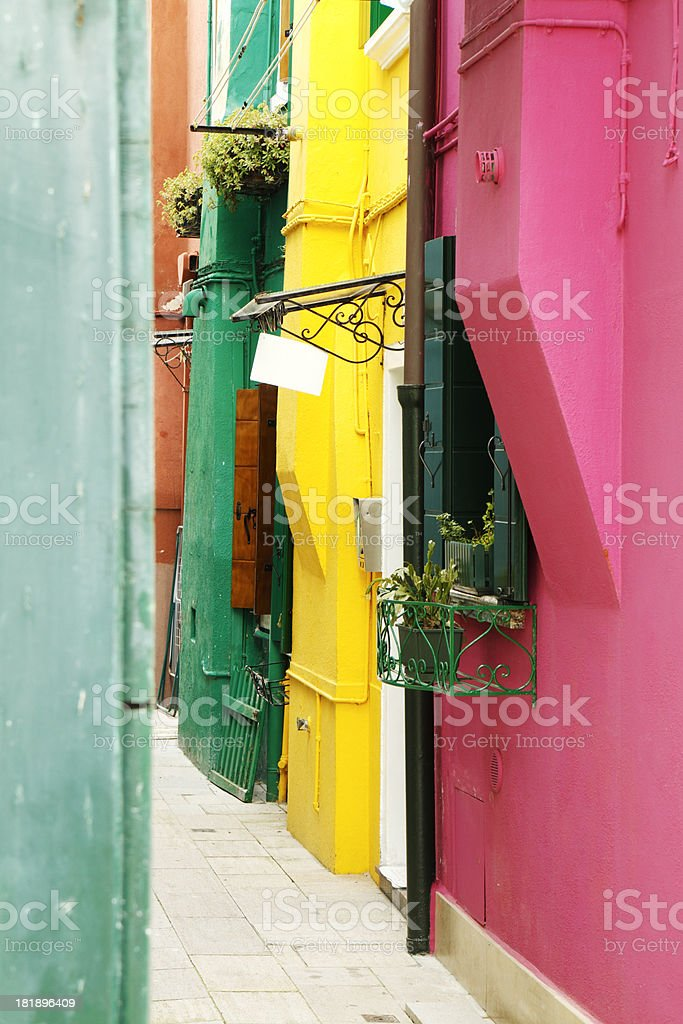 Picturesque narrow street on Burano royalty-free stock photo