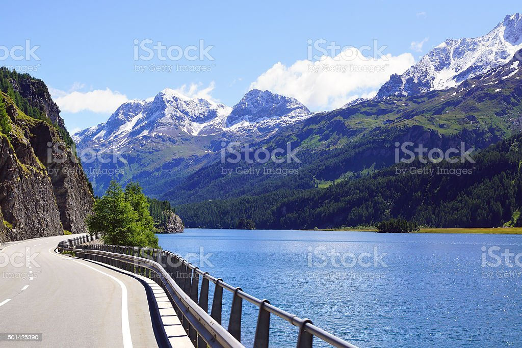 Picturesque nature landscape with lake. St. Moritz stock photo