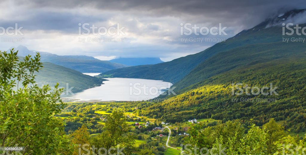 Picturesque northern evening stock photo