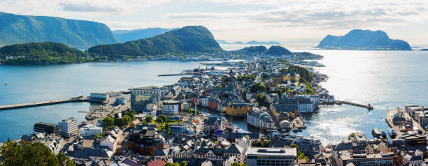 Picturesque panorama of Alesund port town stock photo