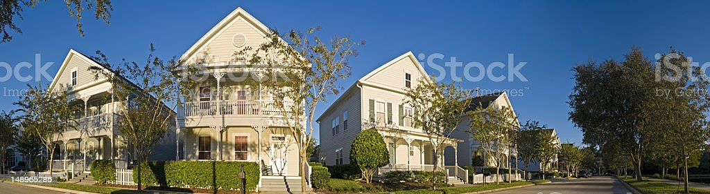 Picturesque porch homes panorama royalty-free stock photo