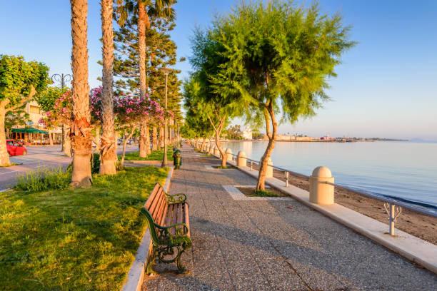 Eine malerische Promenade mit Palmen in Kos-Stadt – Foto