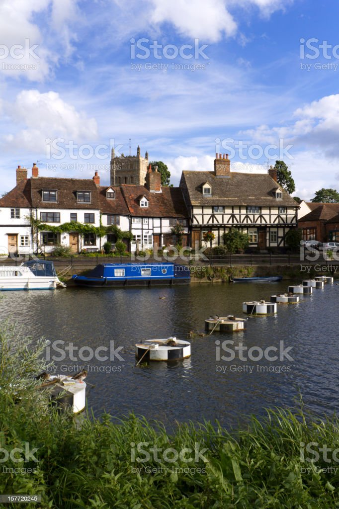 Picturesque riverside cottages in Tewkesbury, Gloucestershire, UK royalty-free stock photo