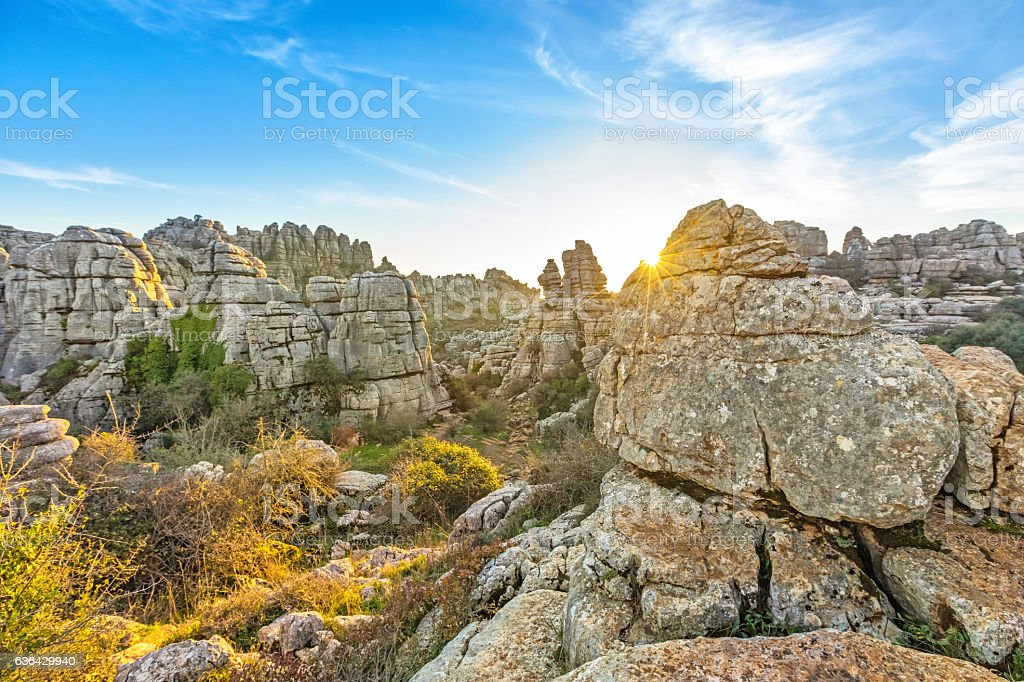 Picturesque rocks on sunset in El Torcal natural park stock photo