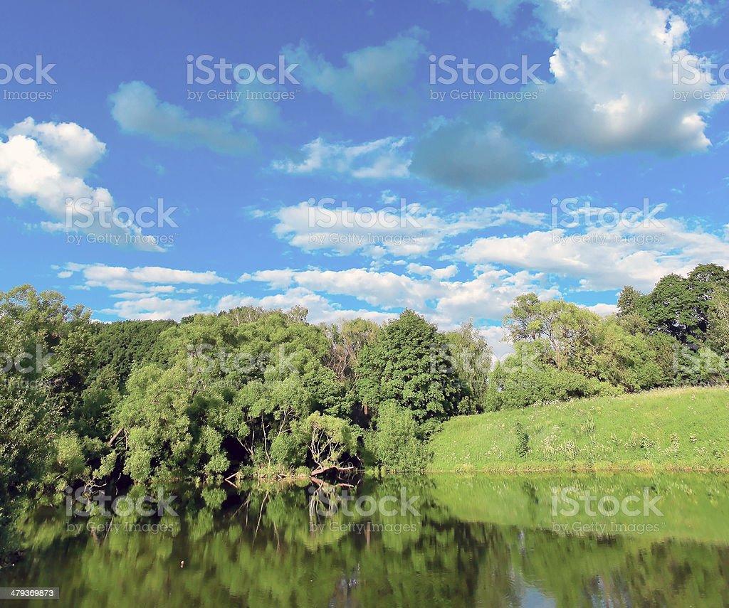 picturesque scene of beautiful rural lake