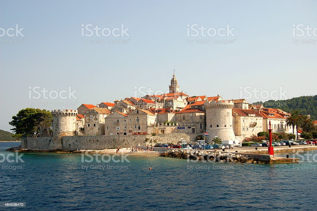 Picturesque scenic view of Old Town of Korcula, Croatia stock photo