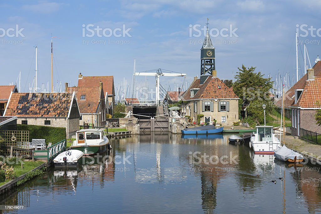 Picturesque seafront from the old Dutch fishing village Hindelop royalty-free stock photo