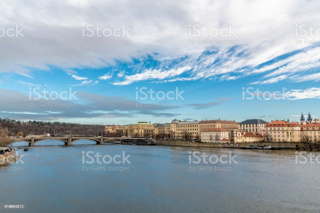 Picturesque sky above the Vltava river stock photo