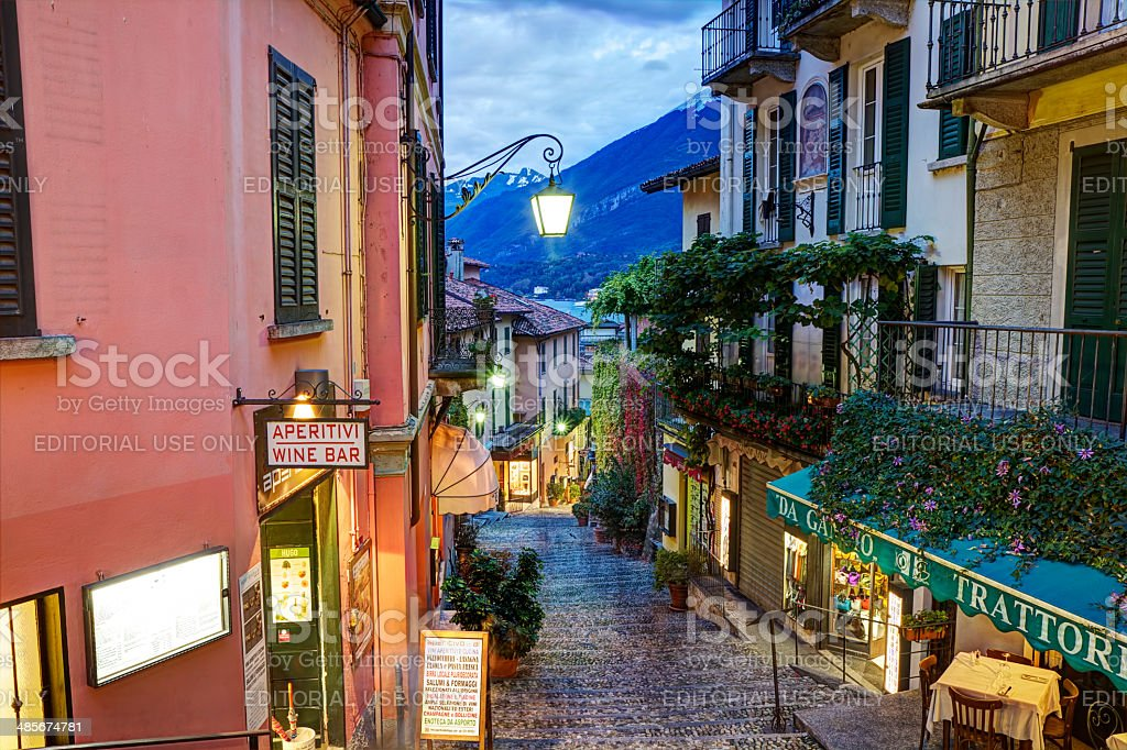 Picturesque small town street view in Bellagio stock photo