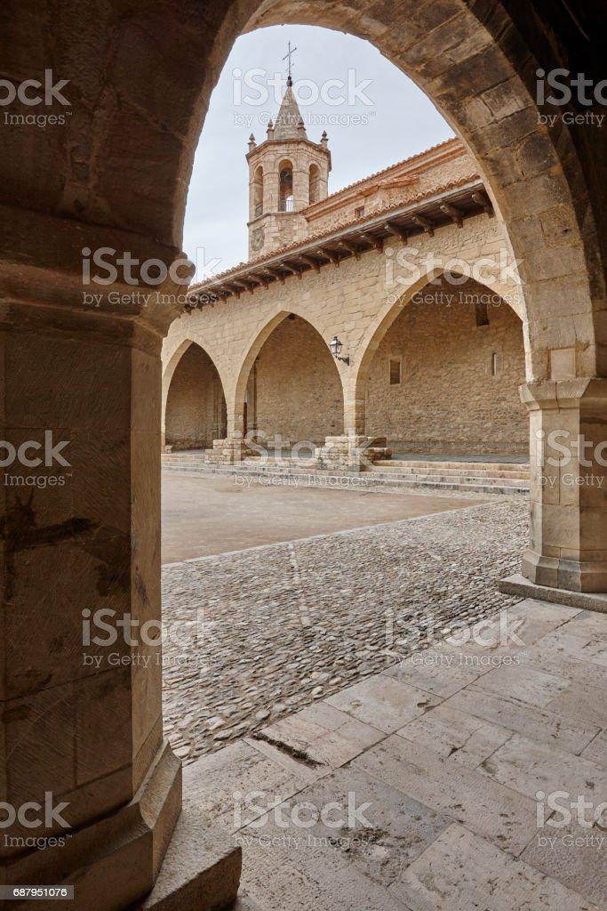 Picturesque stoned arcaded square in Spain. Cantavieja, Teruel. Tourism stock photo