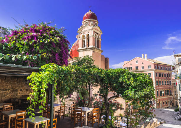 Picturesque street in Corfu town, Greece stock photo