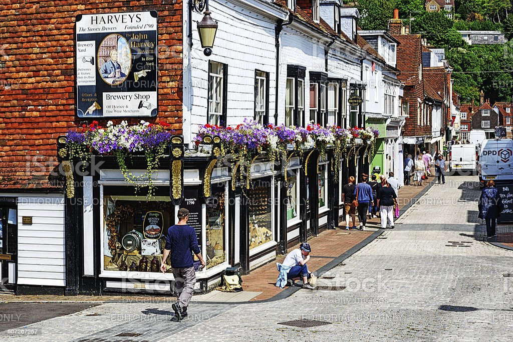 Picturesque street in Lewes, England stock photo