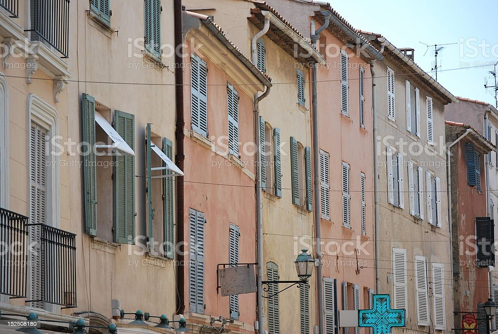 Picturesque street in Saint Tropez, France stock photo