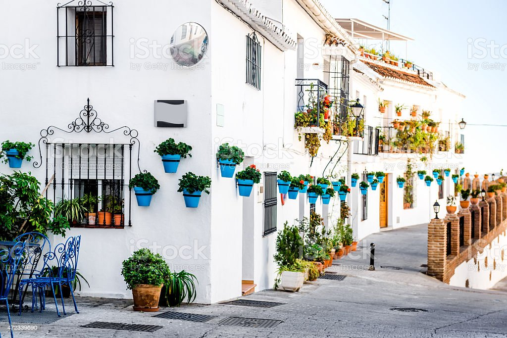 Picturesque street of Mijas stock photo