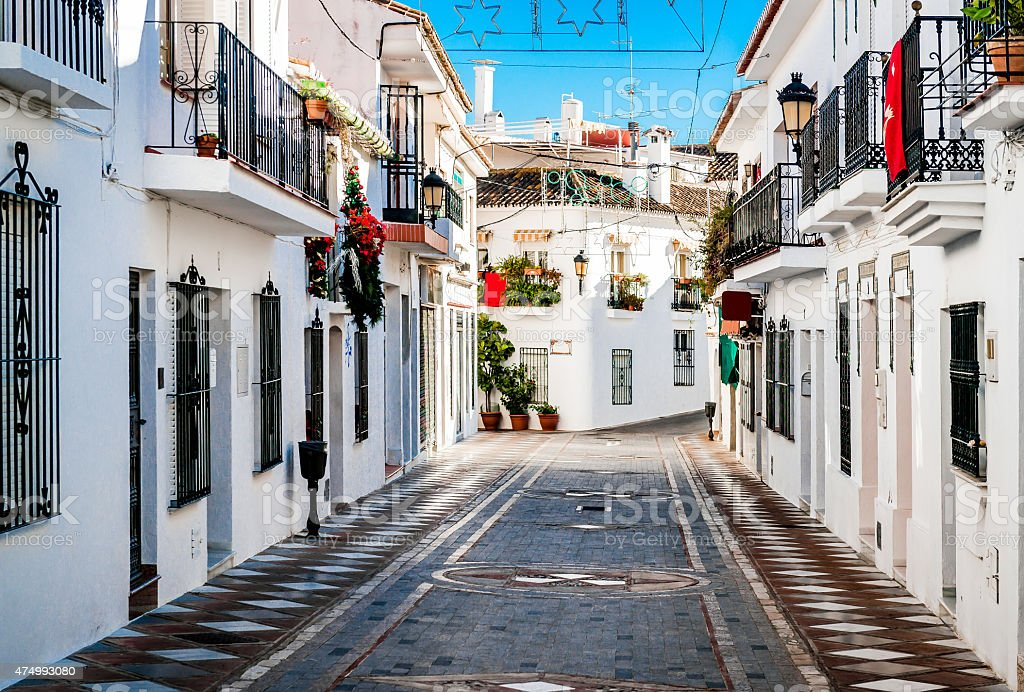 Picturesque street of Rancho Domingo stock photo