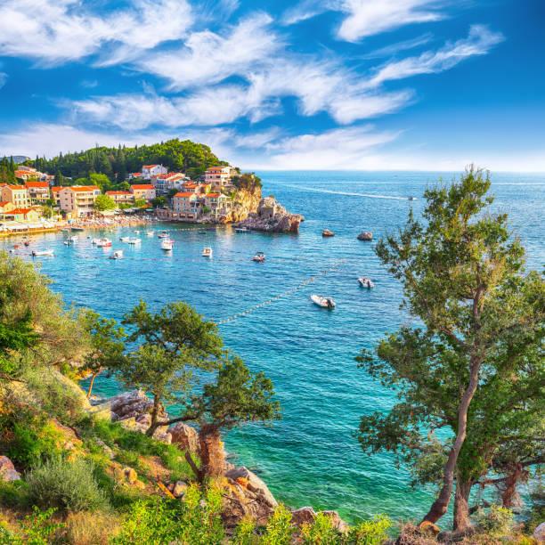 Picturesque summer view of Adriatic sea coast in Budva Riviera near Przno village stock photo