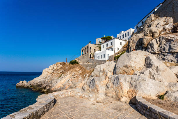Picturesque View at the Port Town of Hydra Island in Greece stock photo