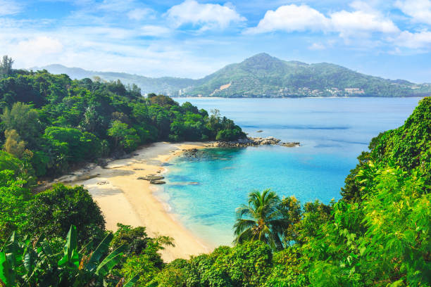 Picturesque view of Andaman sea in Phuket island, Thailand. View through the jungle on the beautiful bay and mountains. Tropical beach Laem Singh. stock photo