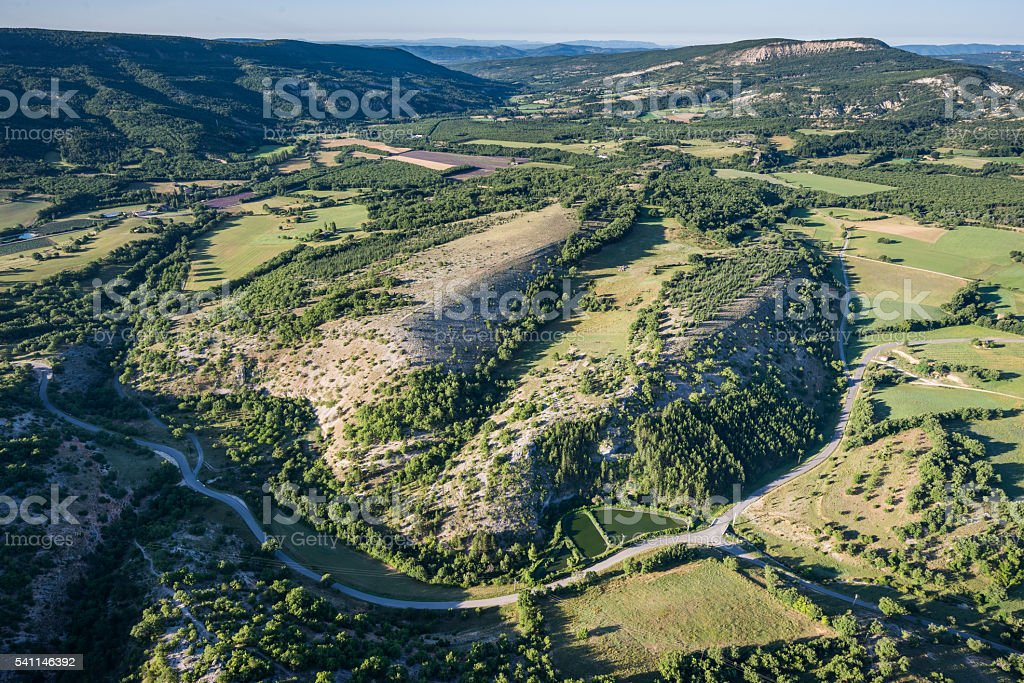 Picturesque view of green hills and cultivated land of Provence stock photo