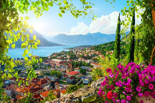 Picturesque sea view of Boka Kotor bay, Montenegro, Kotor old town