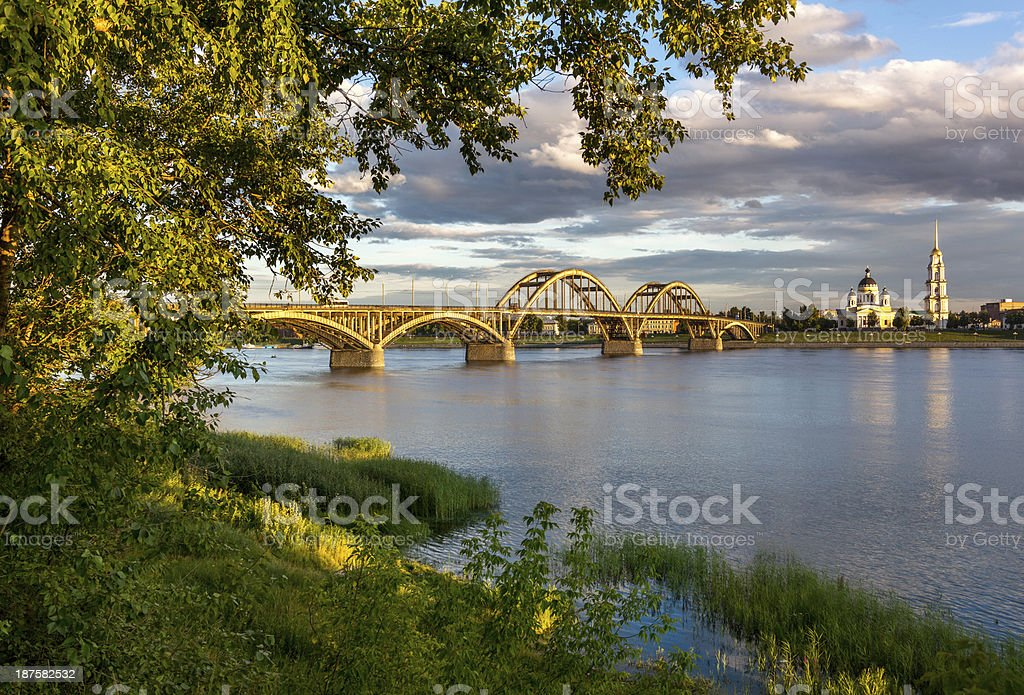 Picturesque view of large stone bridge stock photo