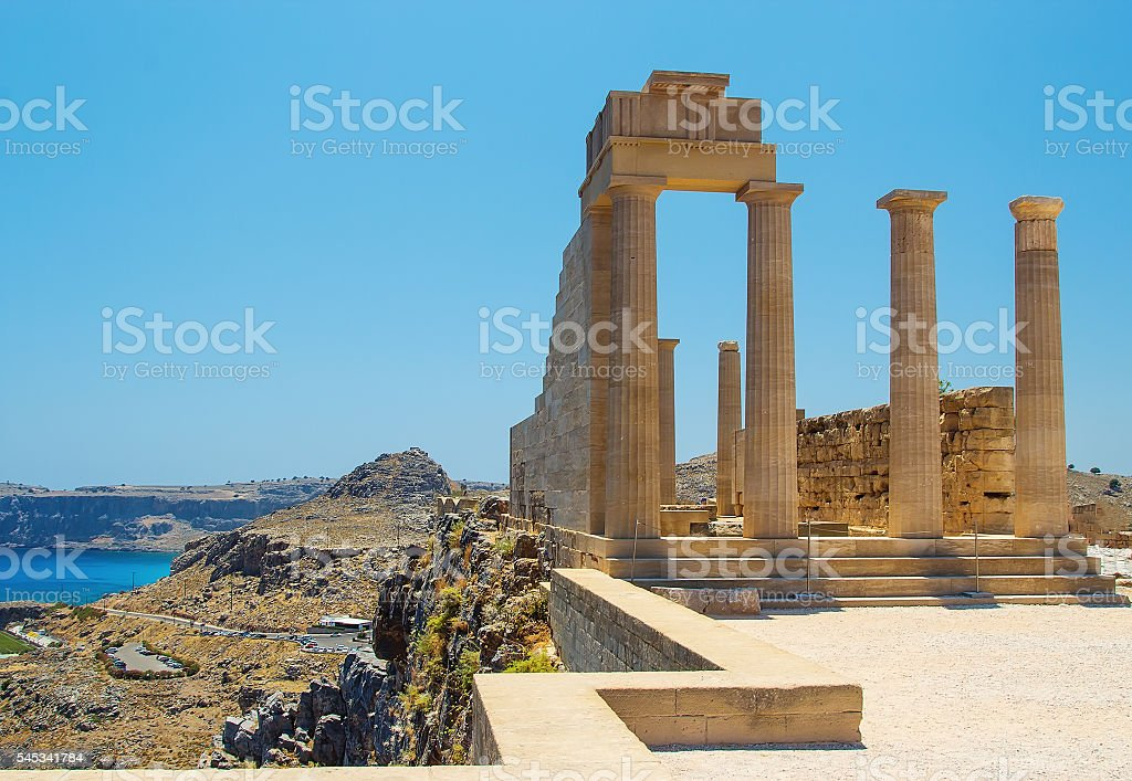 Picturesque view of Lindos St.Pauls Bay from Acropolis, Rhodes, Greece stock photo